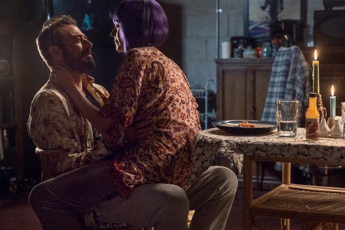 Jeffrey Dean Morgan as Negan and Hilarie Burton as Lucille, as seen in Season 10C of AMC's The Walking Dead