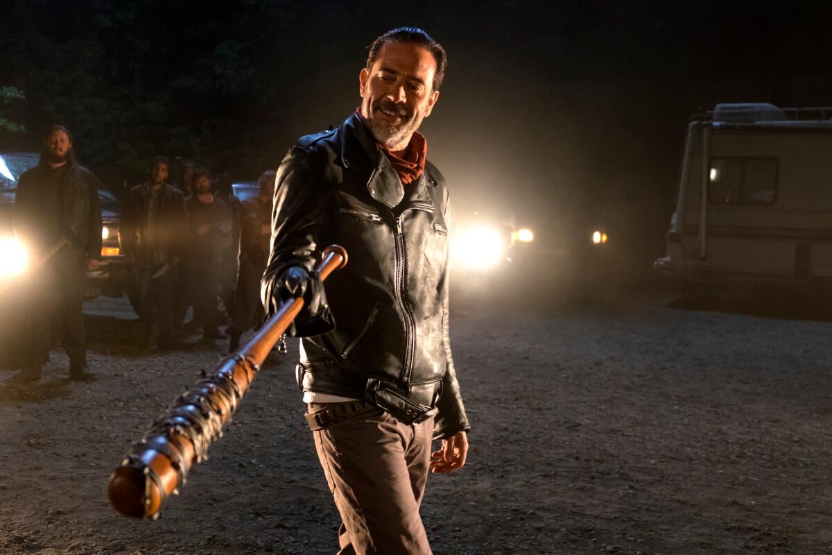 Jeffrey Dean Morgan stars as Negan, as seen in Season 7, Episode 1 of AMC's The Walking Dead