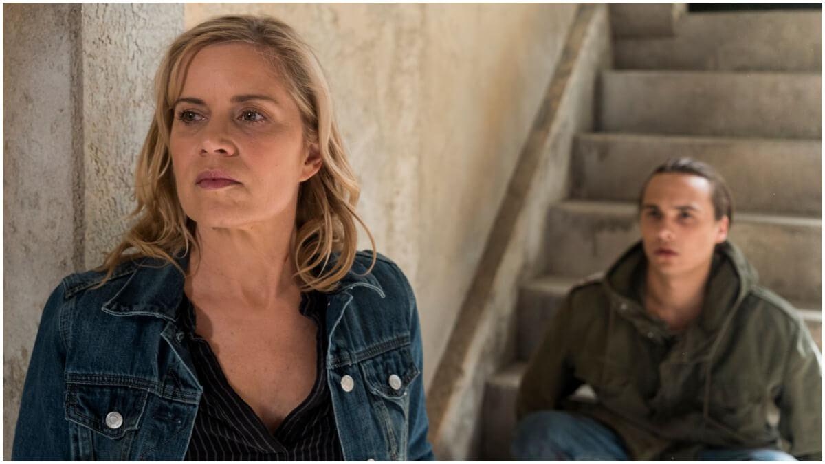 Kim Dickens as Madison Clark, Frank Dillane as Nick Clark, as seen in Season 3 of Fear the Walking Dead