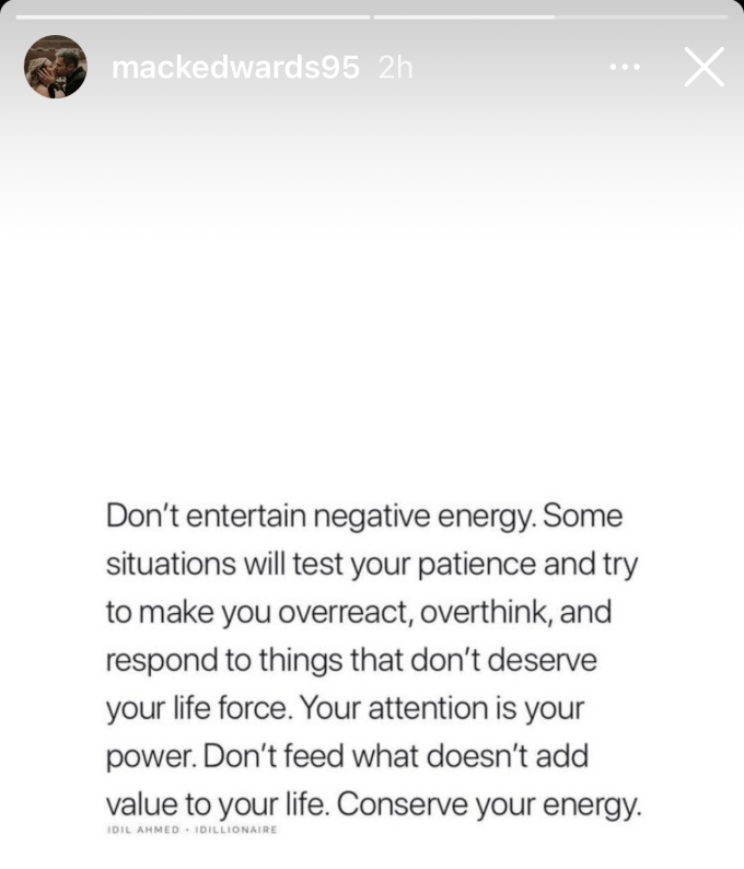 Mackenzie posts cryptic message to her Instagram stories