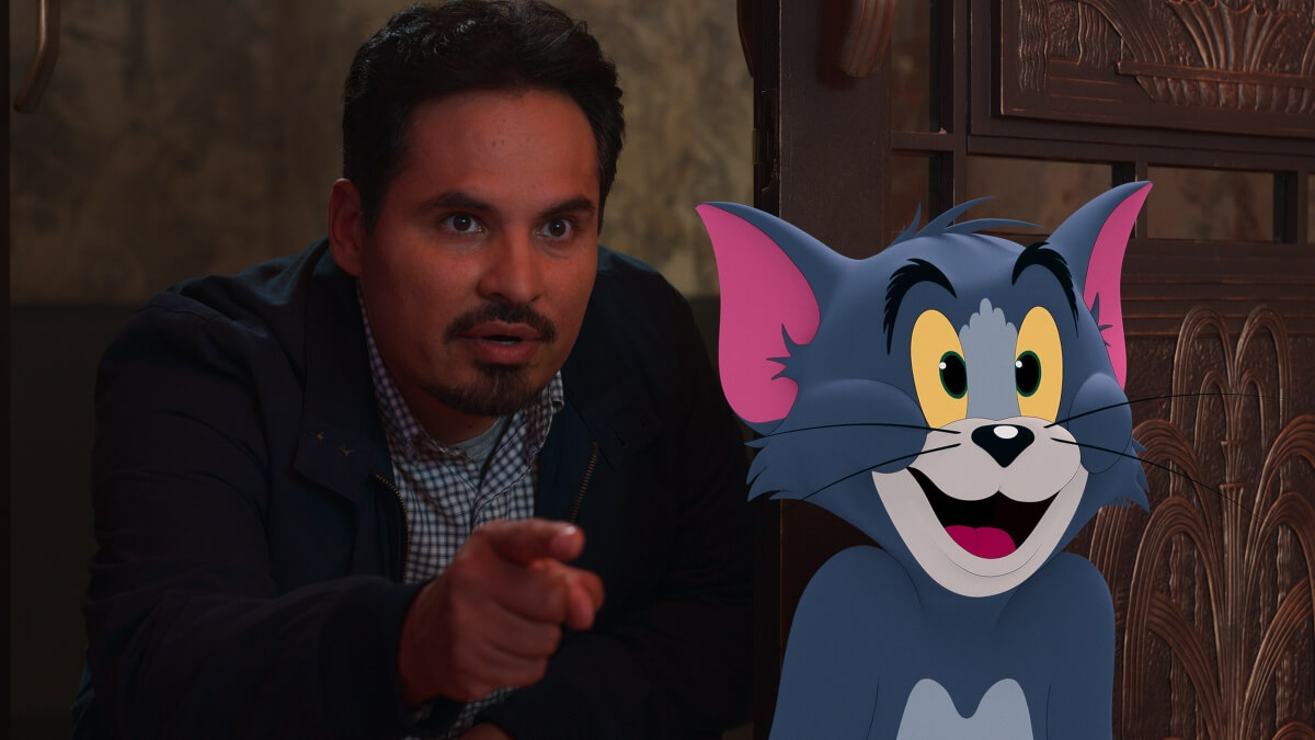 Michael Pena with Tom in Tom & Jerry.