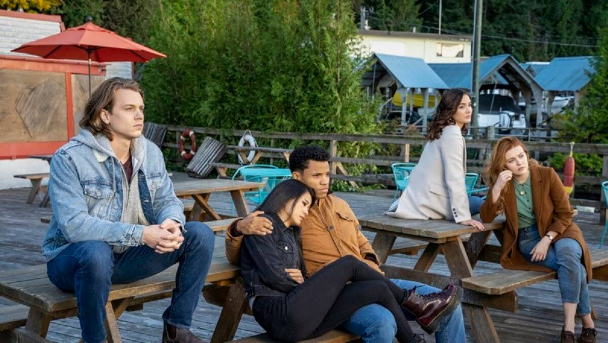 Alex Saxon as Ace, Tunji Kasim as Nick, Maddison Jaizani as Bess and Kennedy McMann as Nancy in Nancy Drew.