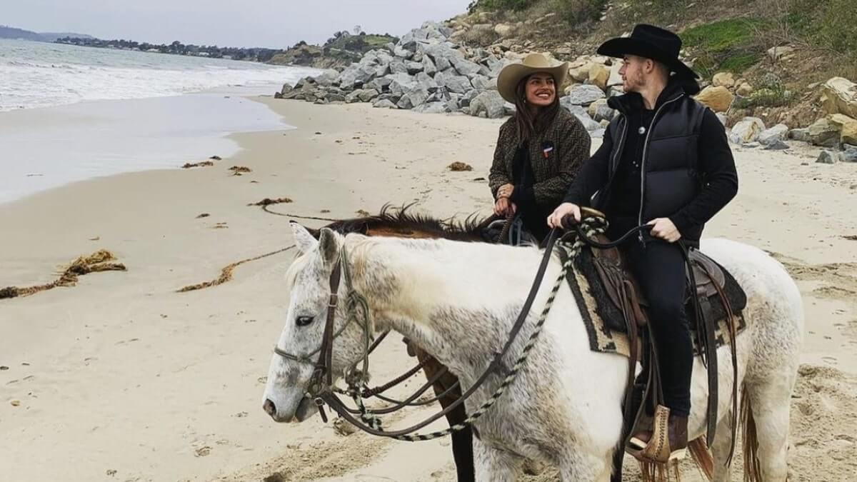 Nick Jonas and Priyanka Chopra horse riding