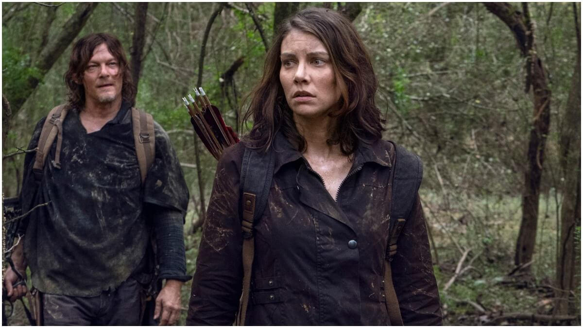Norman Reedus as Daryl Dixon and Lauren Cohan as Maggie Rhee, as seen in Episode 17 of AMC's The Walking Dead Season 10C