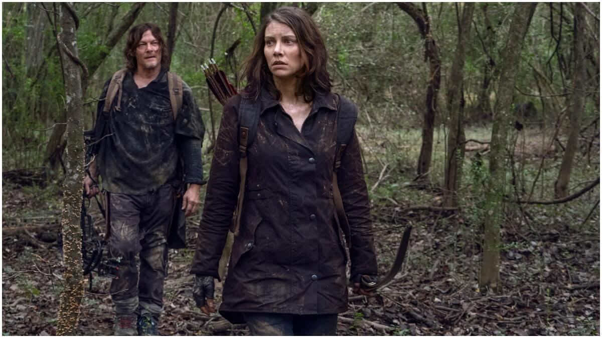 Norman Reedus as Daryl Dixon and Lauren Cohan as Maggie Rhee appear in Season 10C of AMC's The Walking Dead.