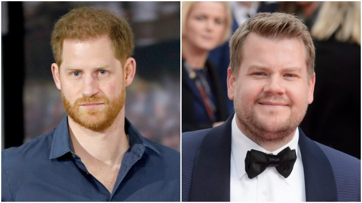 Prince Harry and James Corden on the red carpet