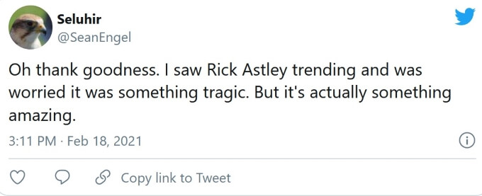 Rick Astley remastered Twitter reaction