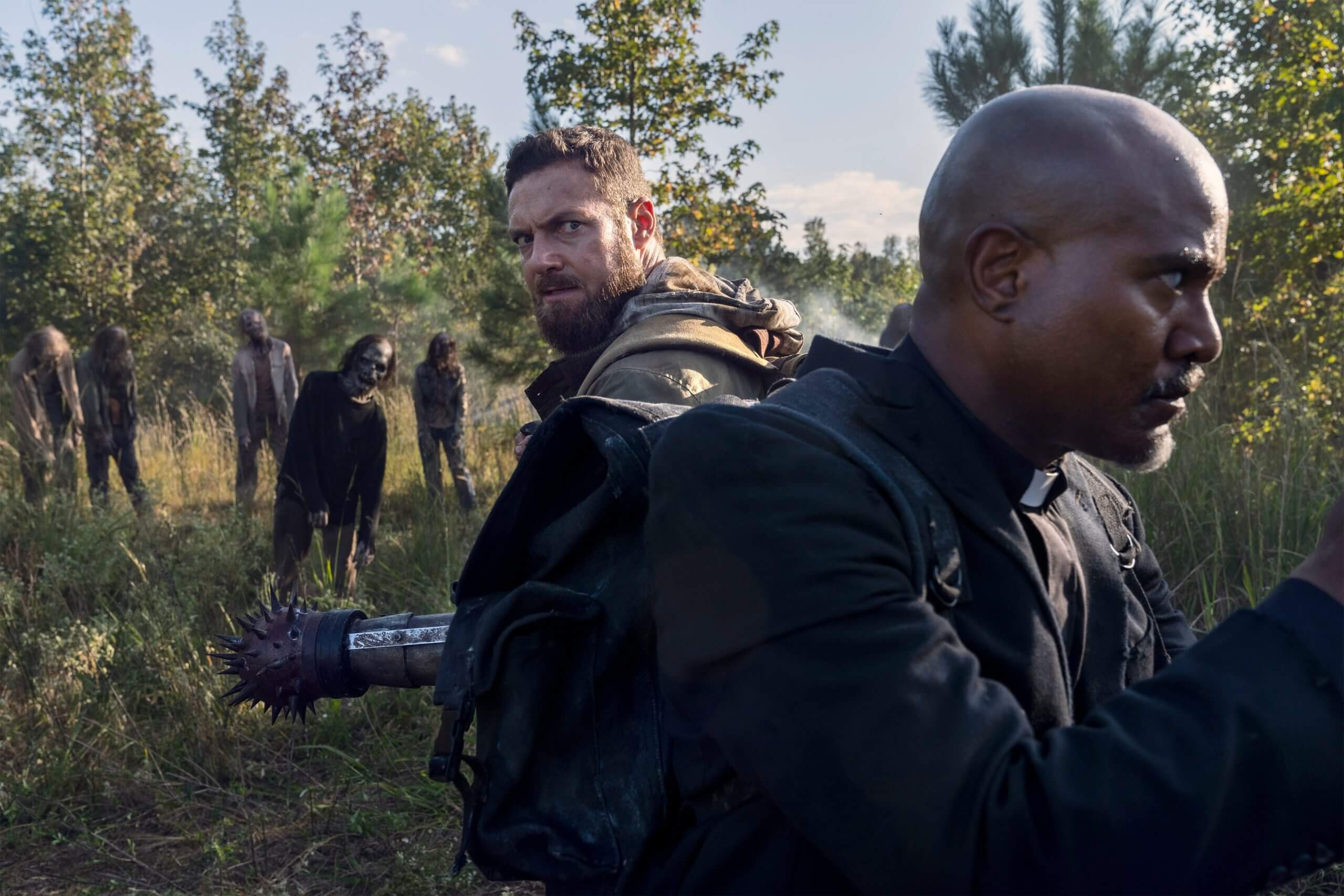 Ross Marquand as Aaron and Seth Gilliam as Father Gabriel, as they appear in Episode 19 of AMC's The Walking Dead Season 10C
