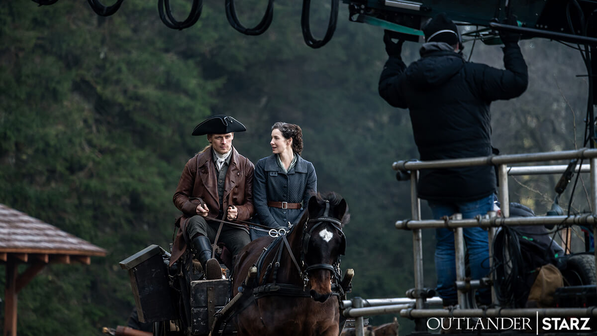 Sam Heughan as Jamie and Caitriona Balfe as Claire, as seen in Starz's Outlander
