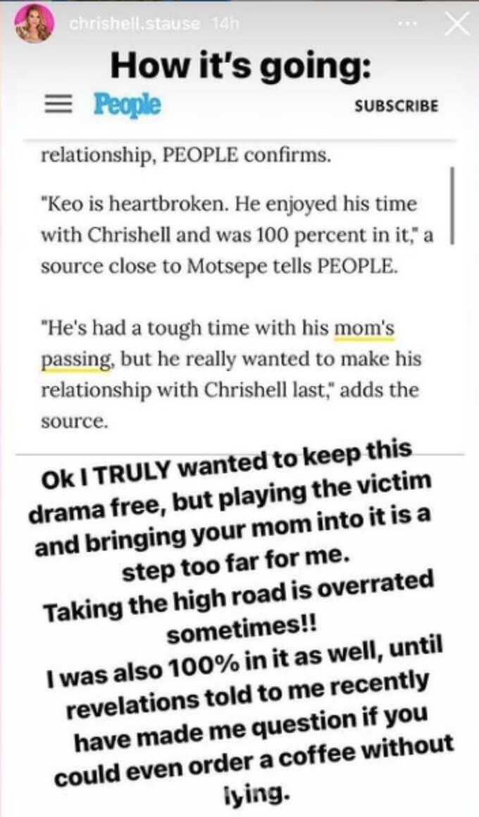 Chrishelle Stause blasts Keo Motsepe on social media