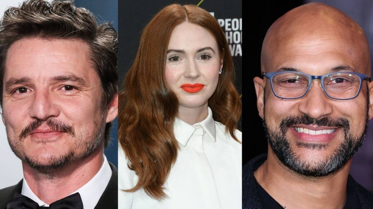 Red carpet images of actors Pedro Pascal, Karen Gillan and Keegan-Michael Key.