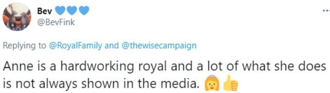 Twitter fan praises Anne as hardworking