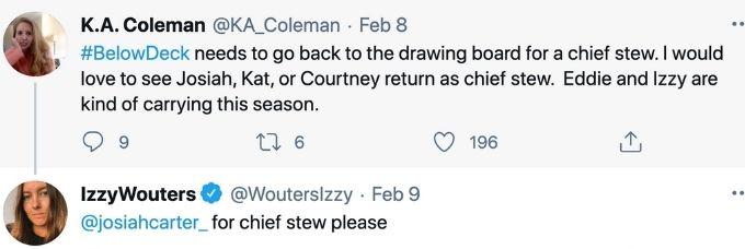 Izzy wants Joisah as chief stew.