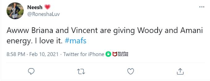 One fan compares Briana and Vincent to another successful MAFS couple.