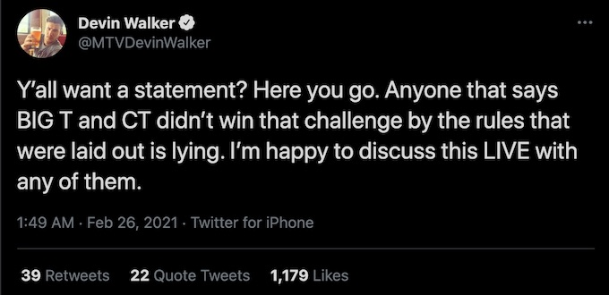 devin walker tweets about comments about staged mission