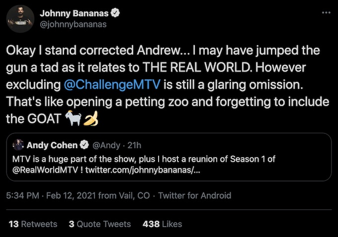 johnny bananas tweet to reality tv host andy cohen