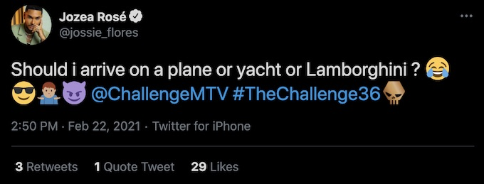jozea flores tweets about return to the challenge