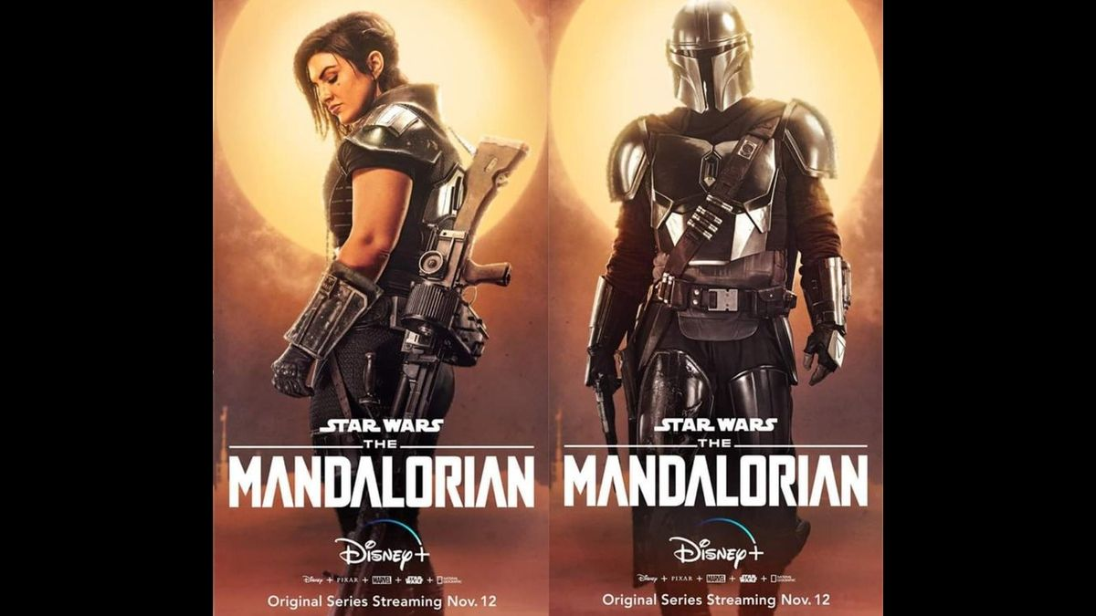 Cara Dune and The Mandalorian are shown in poster form
