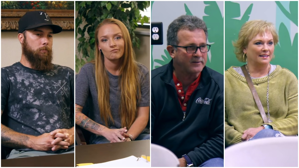 Taylor McKinney, Maci Bookout, Larry Edwards, and Jen Edwards on Teen Mom OG