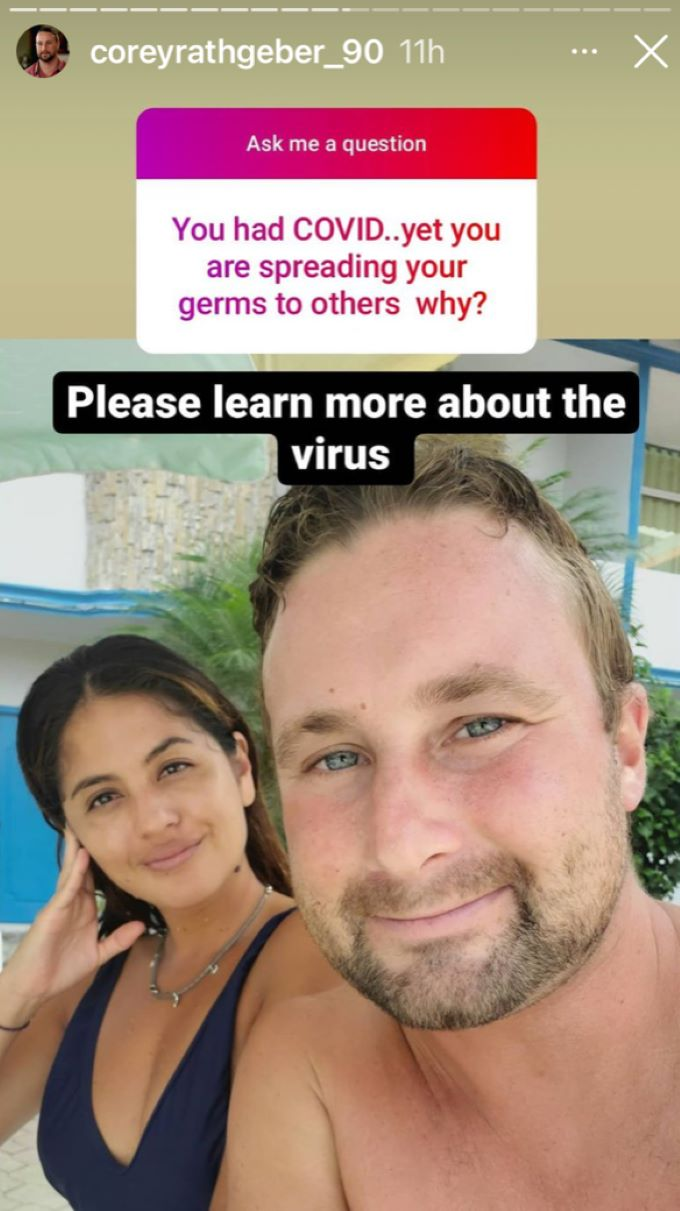 A fan questions why Corey and Evelin are spreading germs when they've recently had COVID-19.