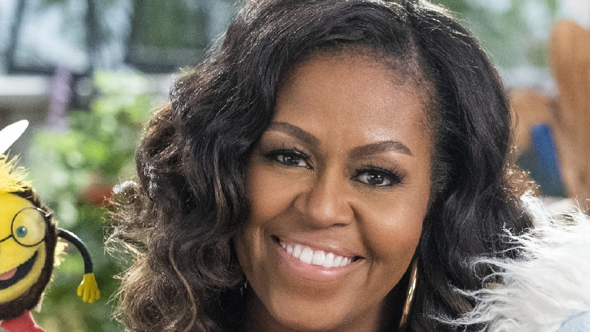 Promotional image of Michelle Obama for Waffles + Mochi.