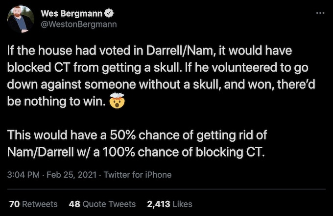 wes bergmann of the challenge tweets about episode 11