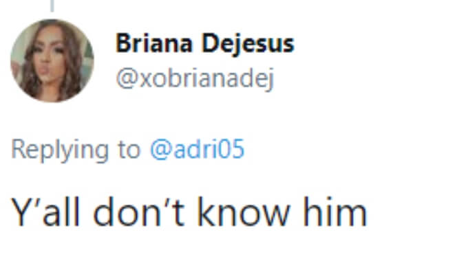 Briana confirms that fans don't know the ex she's referring to
