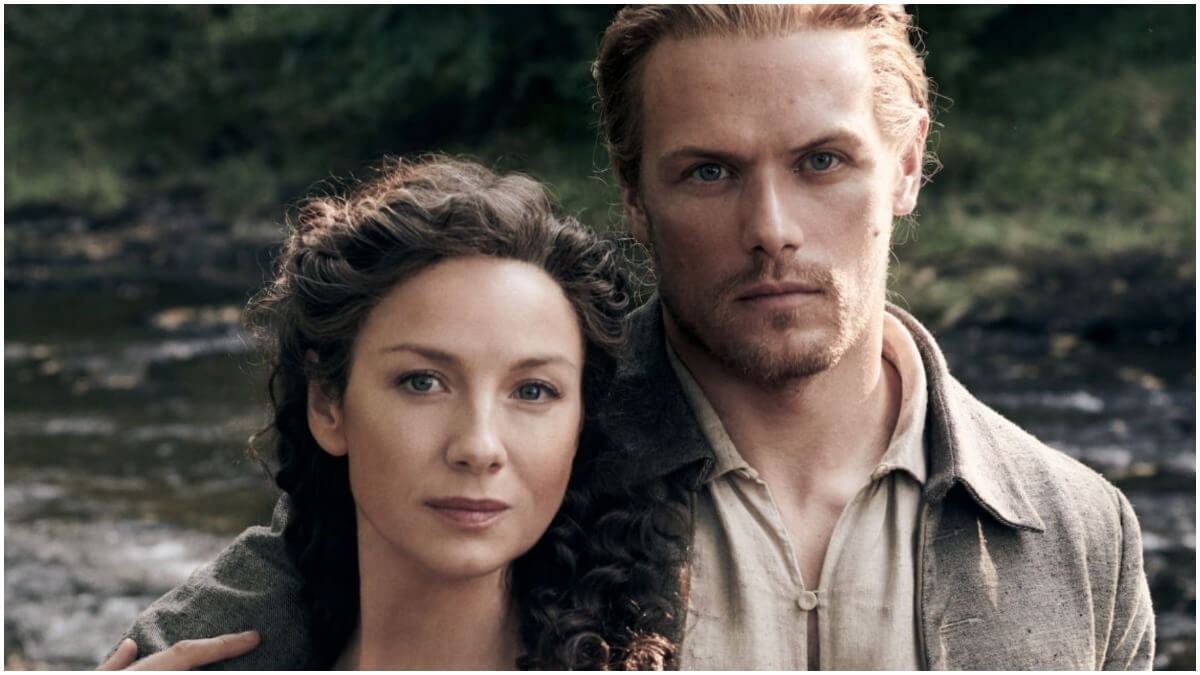 Caitriona Balfe as Claire and Sam Heughan as Jamie Fraser, as seen in Starz's Outlander