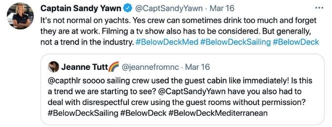 CaptainSandy tweets about guest cabins