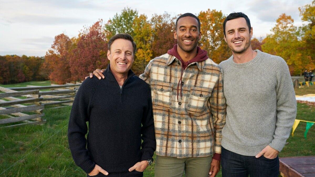 Chris Harrison, Matt James and Ben Higgins pose together on the set of The Bachelor.