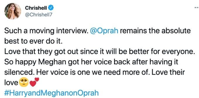 Chrishell shows love fore Meghan.