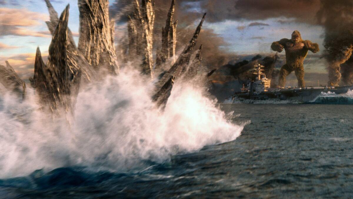 Godzilla approaching Kong in Kong vs. Godzilla.
