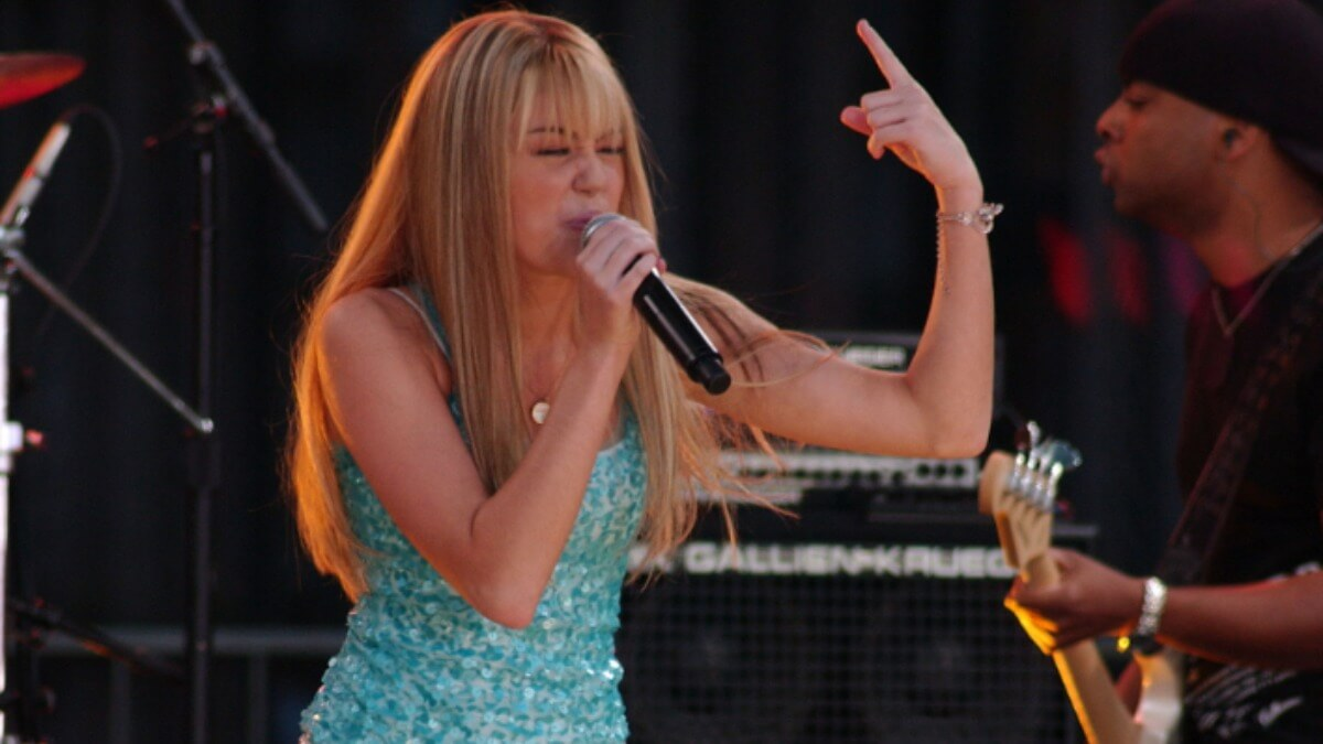 Miley Cyrus performing as Hannah Montana.