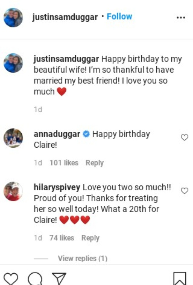 Hilary Spivey's comment on Instagram.