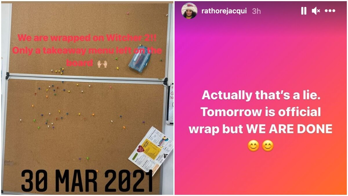 Screenshots from The Witcher makeup artist Jacqueline Rathore's Instagram story