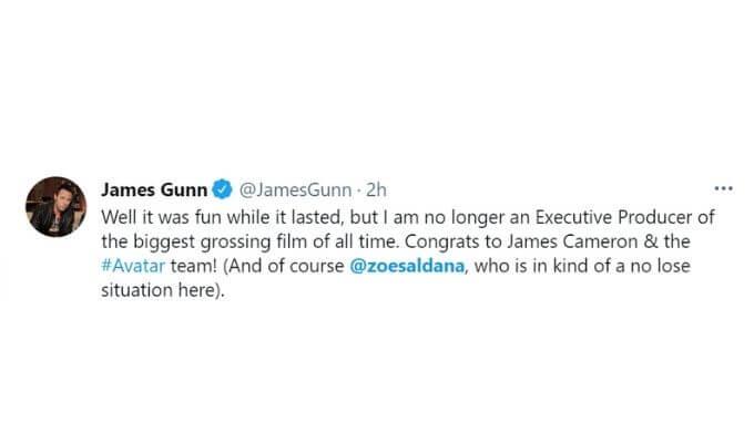 Image of James Gunn's tweet.