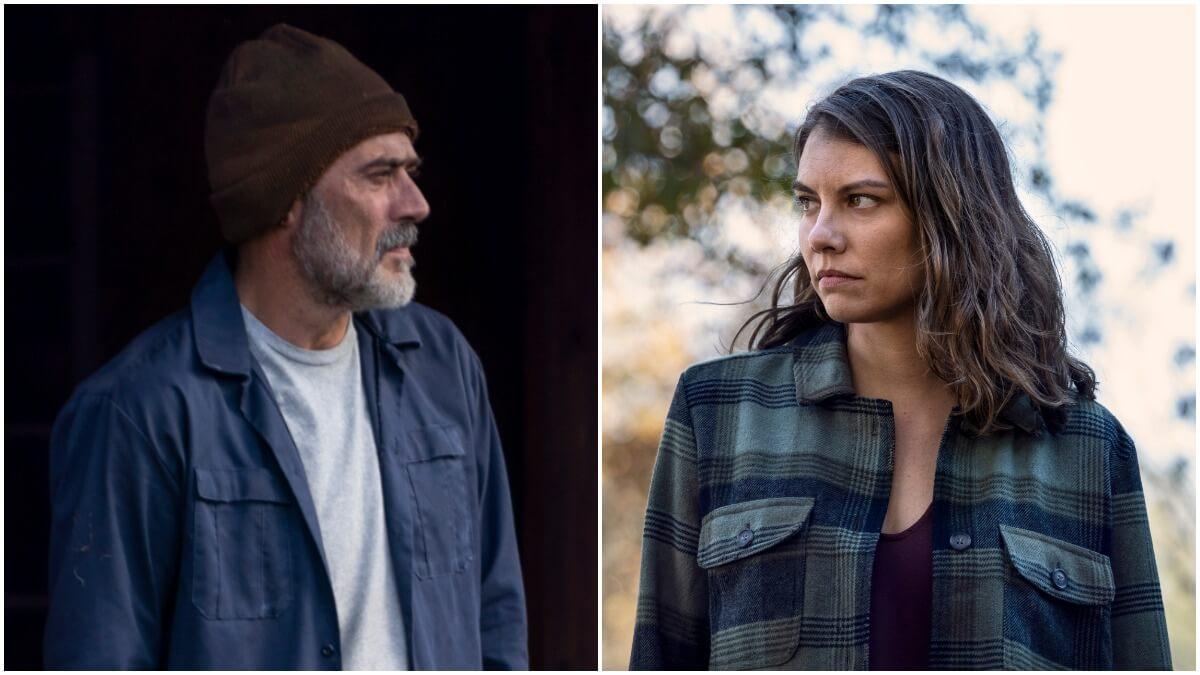 Jeffrey Dean Morgan as Negan and Lauren Cohan as Maggie, as seen in Season 10C of AMC's The Walking Dead
