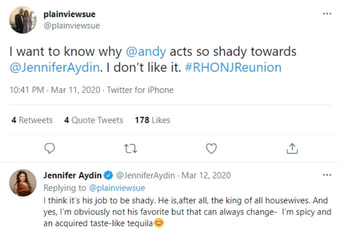 Jennifer Aydin has said she is not one of Andy's favorites in the past