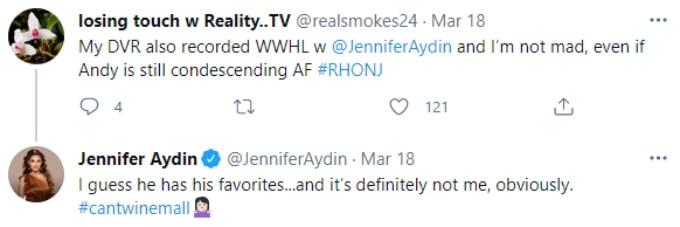 Jennifer Aydin tells a RHONJ fan that she isn't one of Andy's favorite housewives