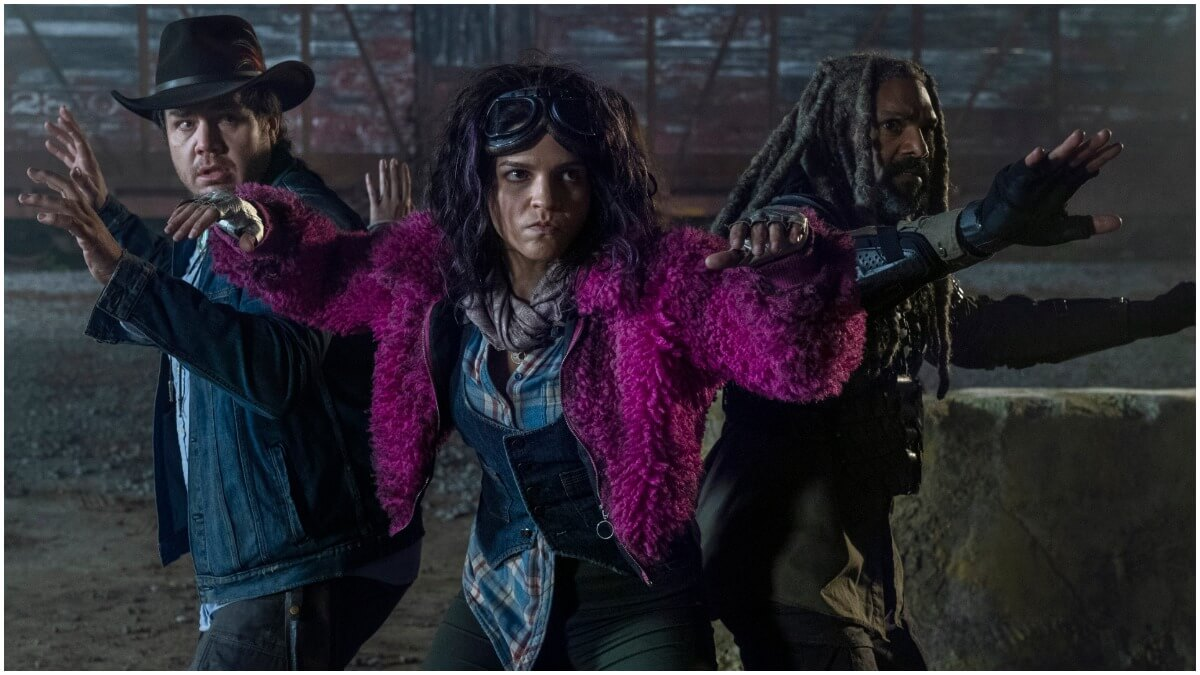 Josh McDermitt as Eugene, Paola Lazaro as Princess, and Khary Payton as Ezekiel, as seen in Episode 20 of AMC's The Walking Dead Season 10C