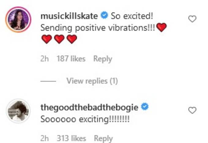 Katie Maloney and Beau Clarke comment on Randall's post.