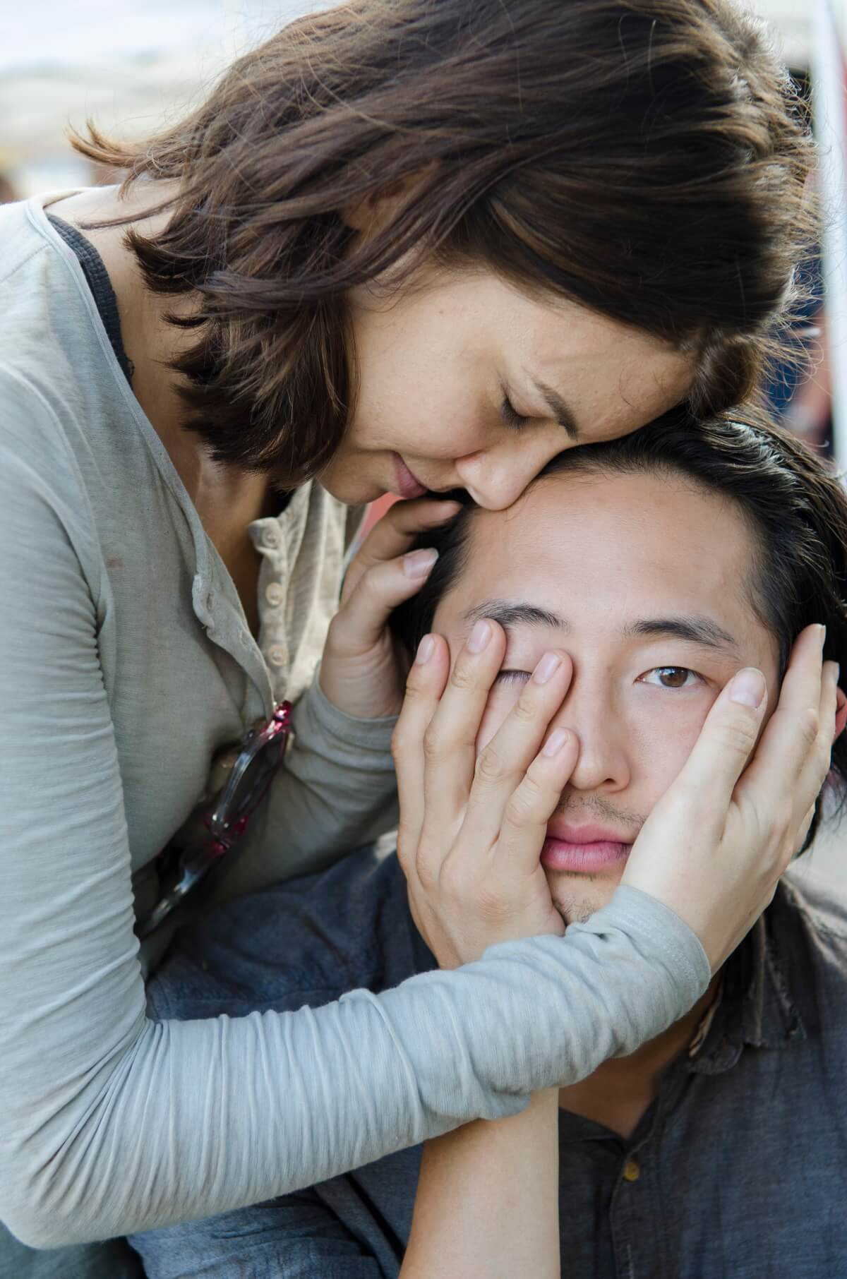 Lauren Cohan and Steven Yeun star as Maggie and Glenn Rhee, as seen behind the scenes for Episode 12 of AMC's The Walking Dead Season 5