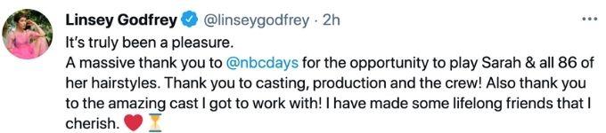 Linsey Godfrey Days good-bye message.
