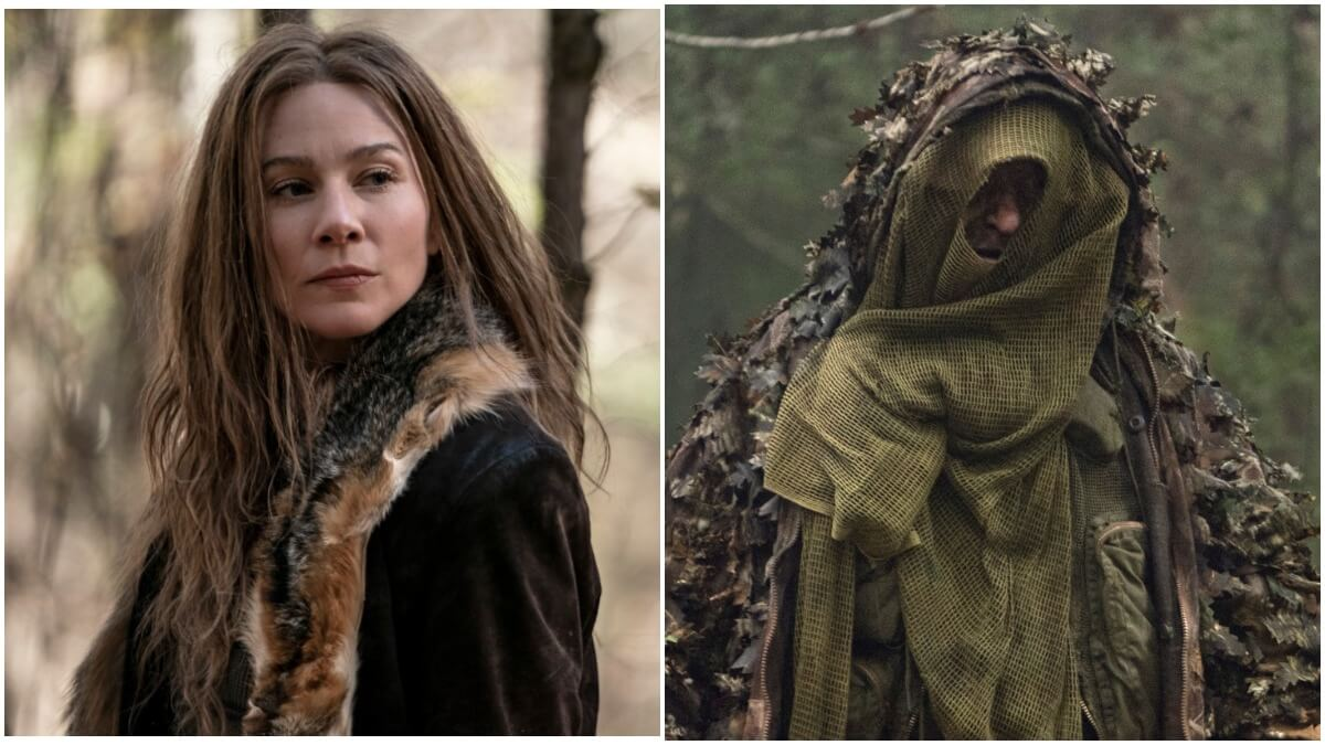 Lynn Collins as Leah and Mike S. Whinnet as a Reaper, as seen in Season10C of AMC's The Walking Dead