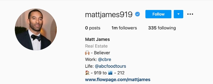 Matt James Instagram cover page.