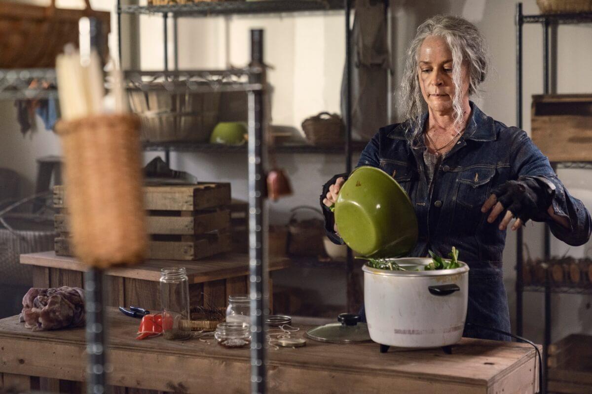 Carol Peletier (Melissa McBride) makes soup in Episode 21 of AMC's The Walking Dead Season 10C