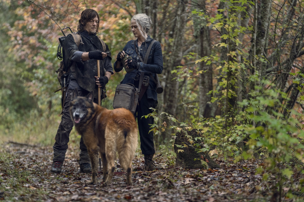 Norman Reedus as Daryl Dixon and Melissa McBride as Carol Peletier, featured with Dog, as seen in Episode 18 of AMC's The Walking Dead Season 10C