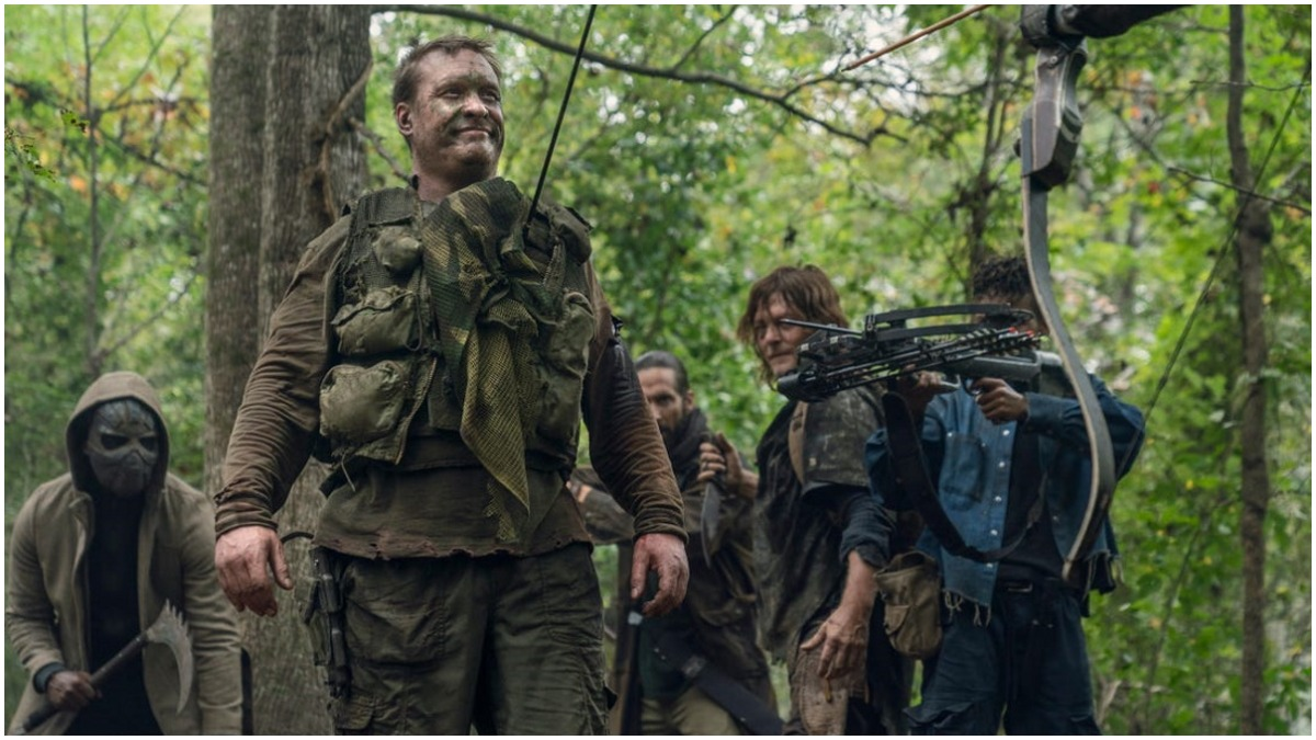 Norman Reedus as Daryl Dixon, Okea Eme-Akwari as Elijah, Mike S. Whinnet as The Attacker, James Devoti as Cole, Angel Theory as Kelly, as seen in Episode 17 of AMC's The Walking Dead Season 10C