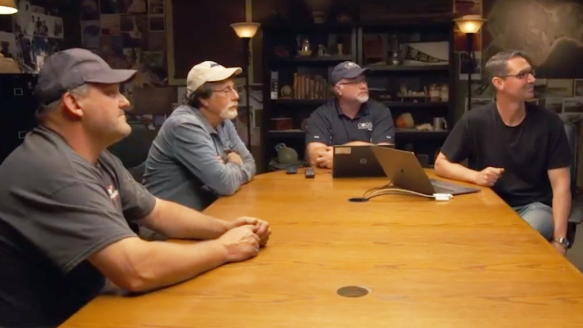 Oak Island team members meet in the War Room