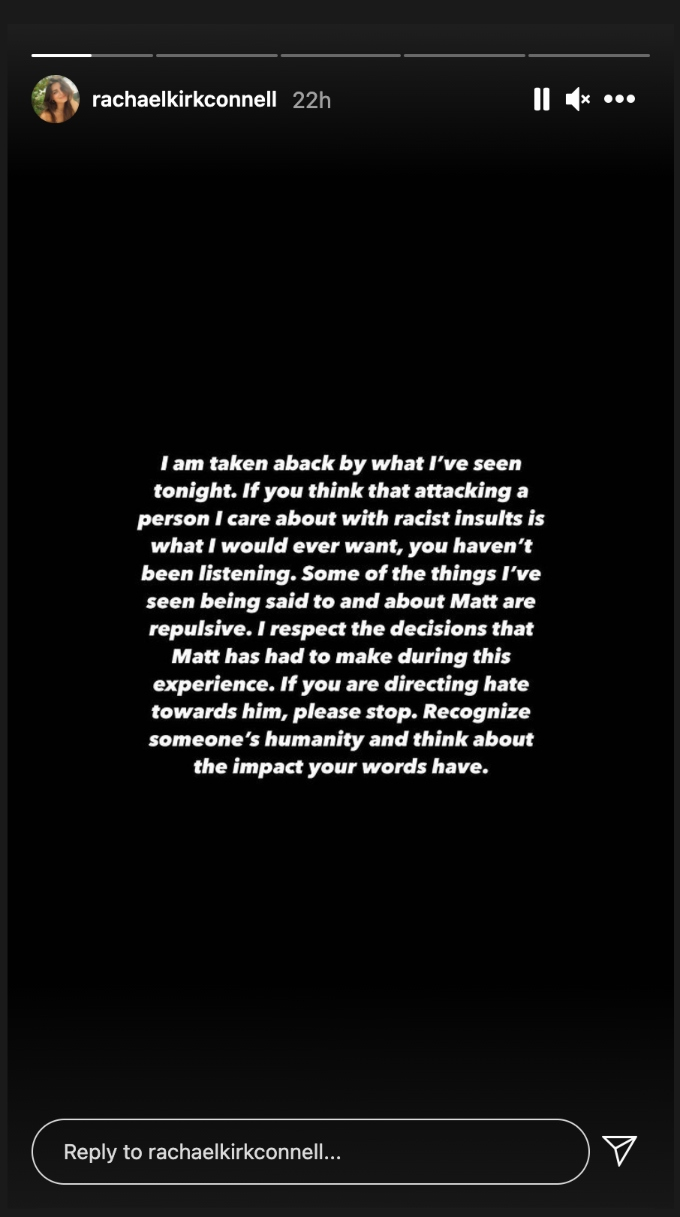 Rachael Kirkconnell posted a message to her IG story.